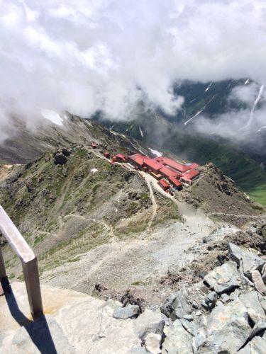 槍ヶ岳山頂から山荘