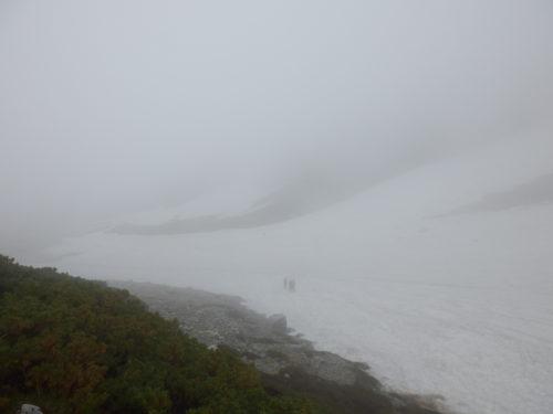 剱岳の剱沢雪渓ガス