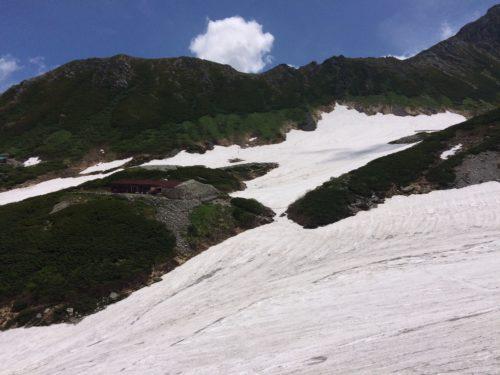 剱沢雪渓横断