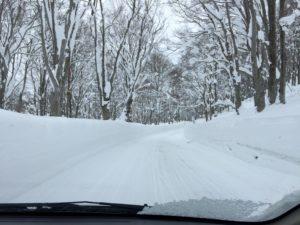 八甲田の雪道