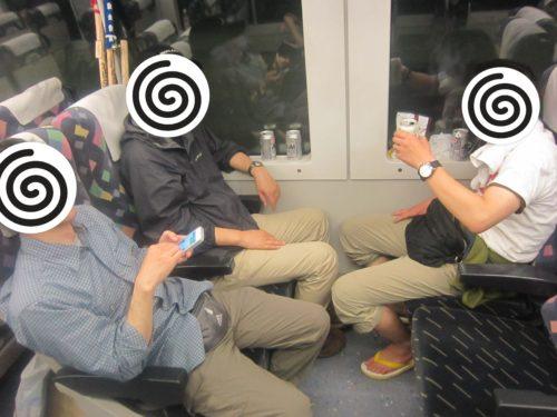 新幹線で宴会