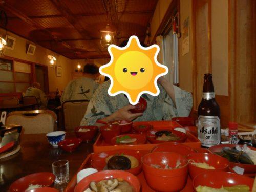 駒の湯山荘夕食ビール