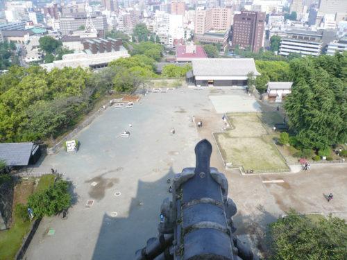 熊本城の天守閣からの眺望