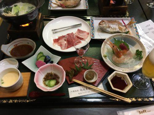 川渡温泉越後屋旅館の夕食メイン