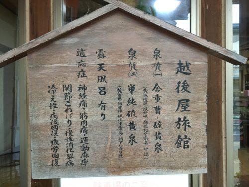 川渡温泉越後屋旅館の案内板